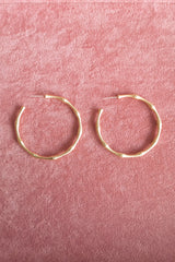 Matte Gold Bamboo Look Large Hoop Earring