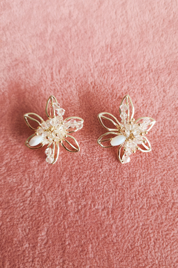 Pearl Diamante Flower Frame Stud Earring