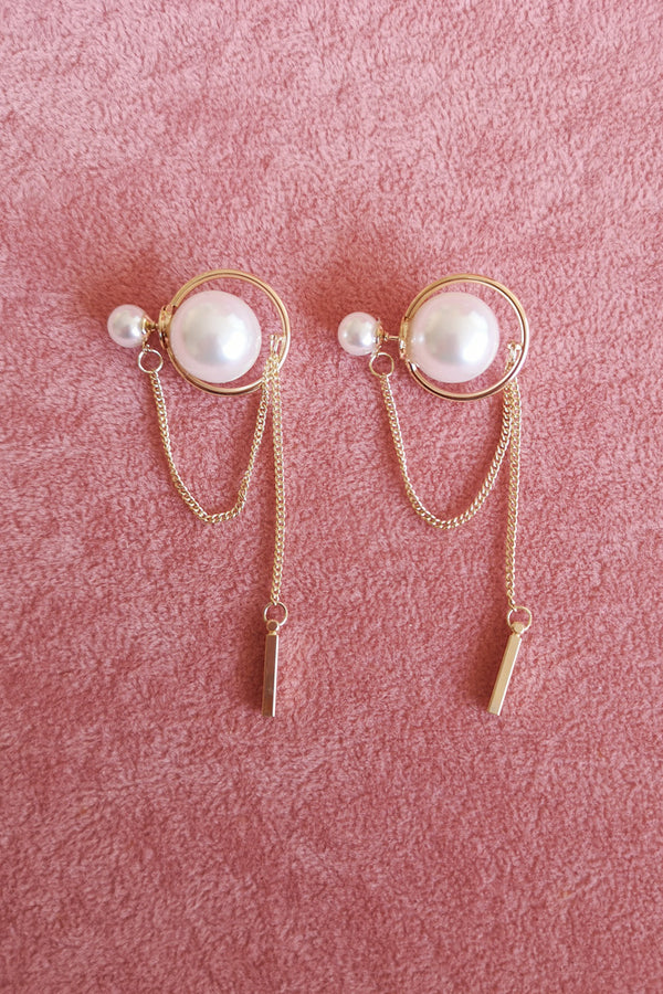 Drop Back Pearl Sandwich Stud Earring