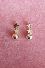 GOLD STAR BALL DROP EARRINGS
