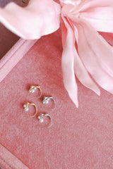 PEARL EMBELLISHED ORGANIC STUD EARRINGS