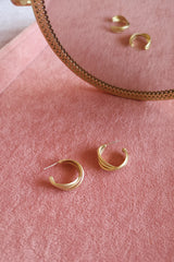 MATTE GOLD TRIPLE TWIST HOOP EARRINGS