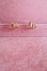 DIAMANTIE DOUBLE HOOP STUD EARRINGS