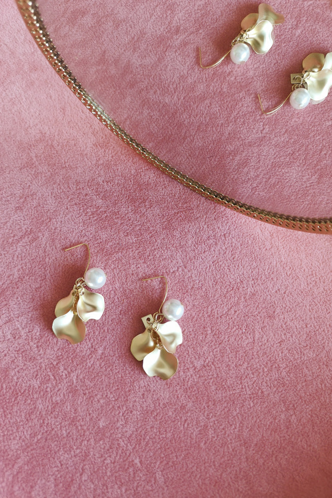 Matte Gold Flower Petal Drop Earring