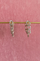 RHODIUM DIAMANTE CHAIN LINK HOOP EARRINGS