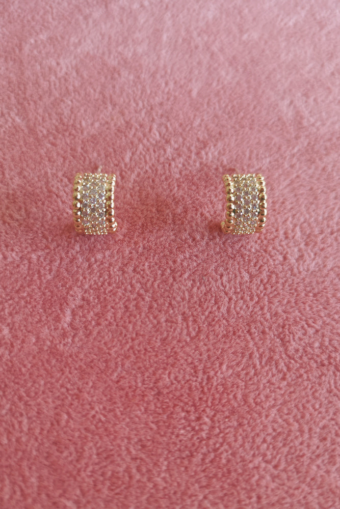 WIDE DIAMANTE STUD EARRINGS