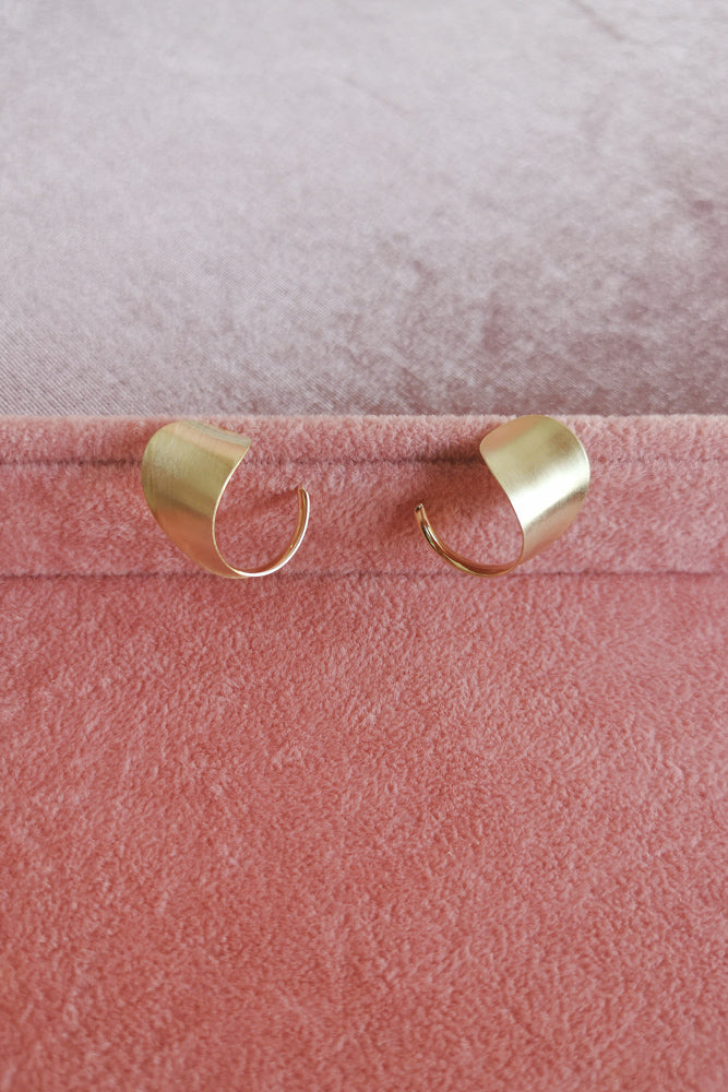 Matte Gold Random Shaped Hoop Earrings