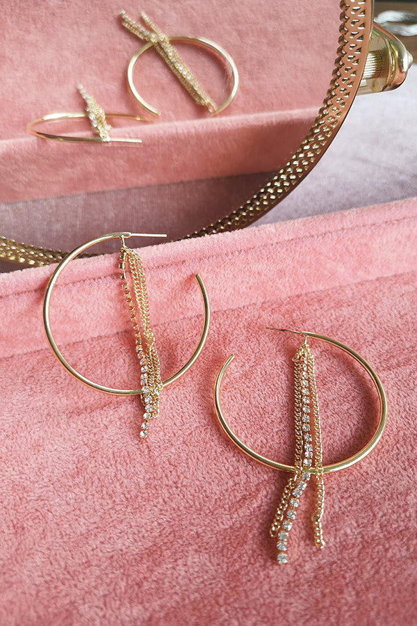 DIAMANTE CHAIN HOOP EARRINGS