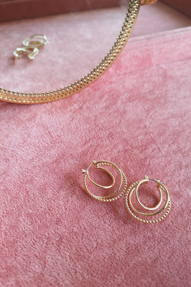 Gold Layering Hoops Earring