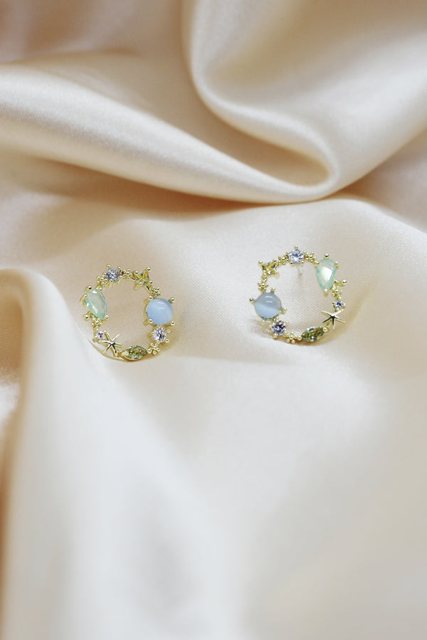 MIXED JEWEL ROUND STUD EARRINGS