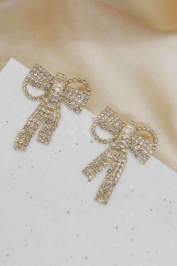 DIAMANTE BOW KNOT STUD EARRINGS