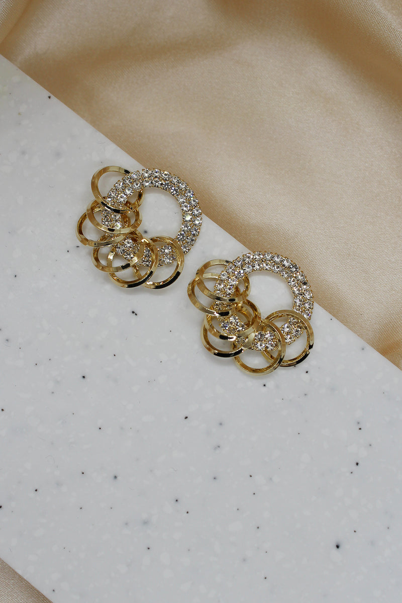 DIAMANTE CIRCLE STUD EARRINGS