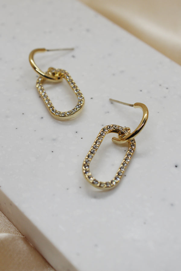 GOLD DIAMANTE OVAL DROP EARRINGS