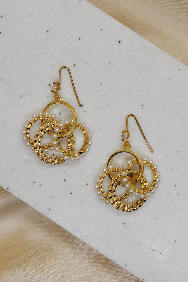 GOLD DIAMANTE PEARL CIRCLE CHARM DROP EARRINGS