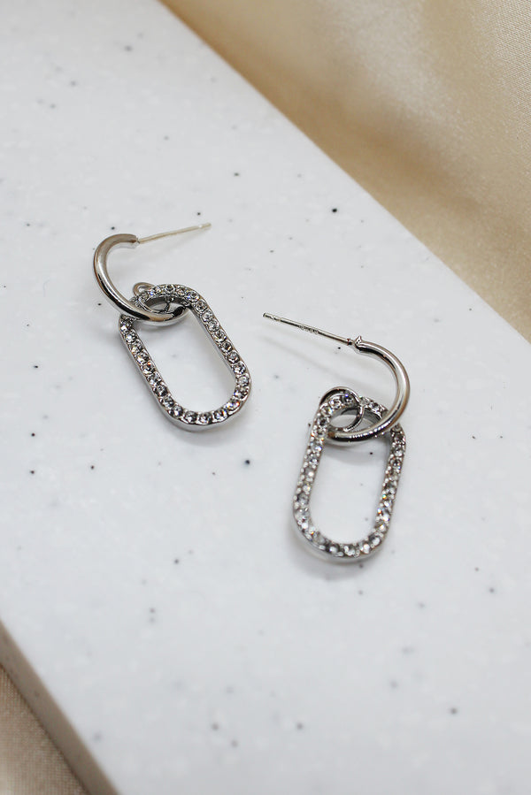 SILVER DIAMANTE OVAL DROP EARRINGS