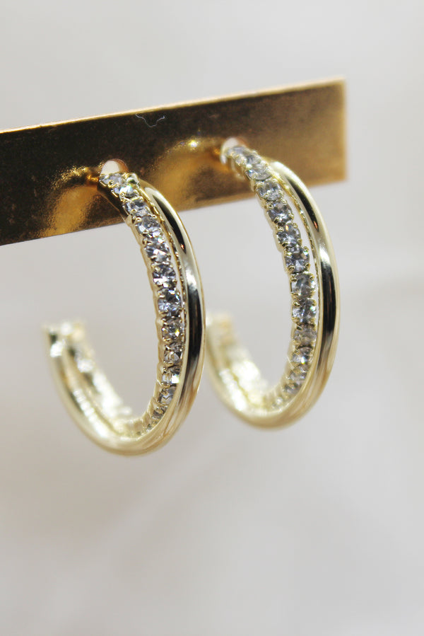 GOLD DIAMANTE DOUBLE HOOP EARRINGS