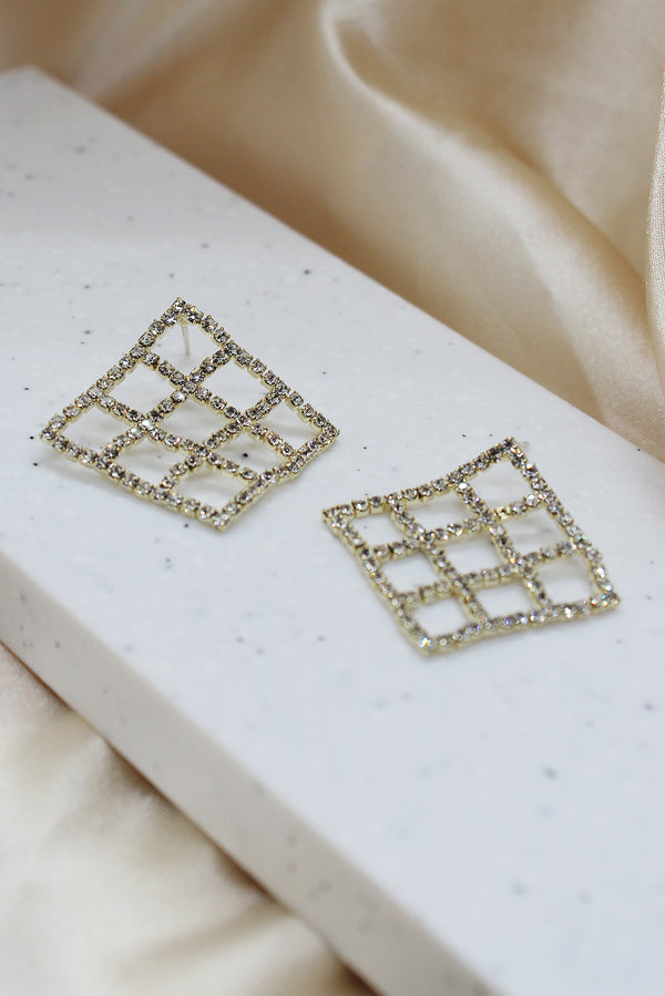 DIAMANTE GRID STUD EARRINGS