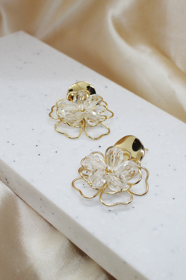 GOLD WIRE BEAD FLOWER DROP EARRINGS