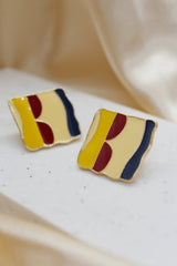 GEOMETRICAL COLOUR BLOCK STUD EARRINGS