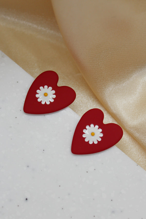 RED HEART FLORAL STUD EARRINGS