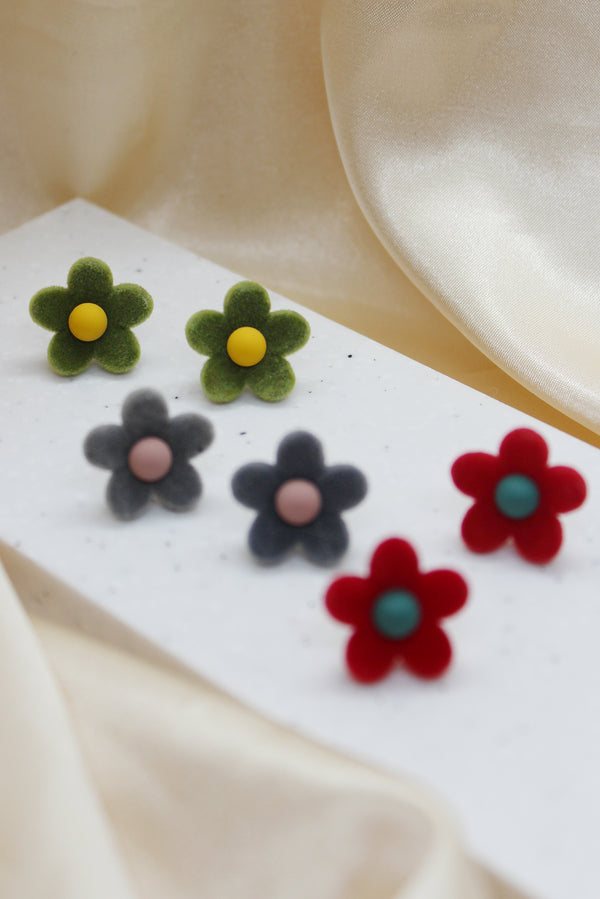 VELVET FLOWER STUD EARRINGS