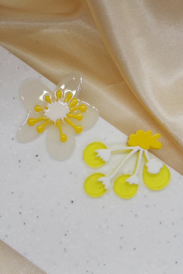 YELLOW ASYMMETRICAL FLOWER STUD EARRINGS