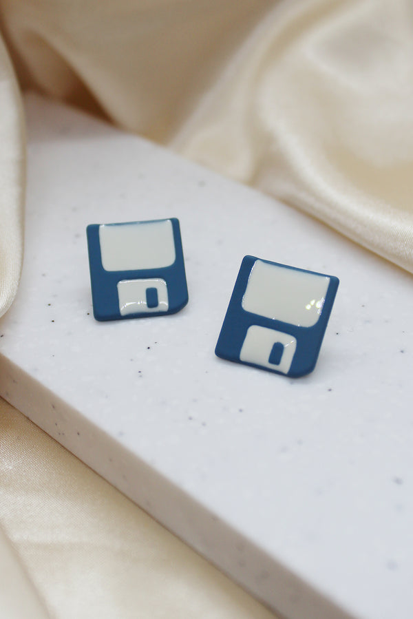 FLOPPY DISK STUD EARRINGS