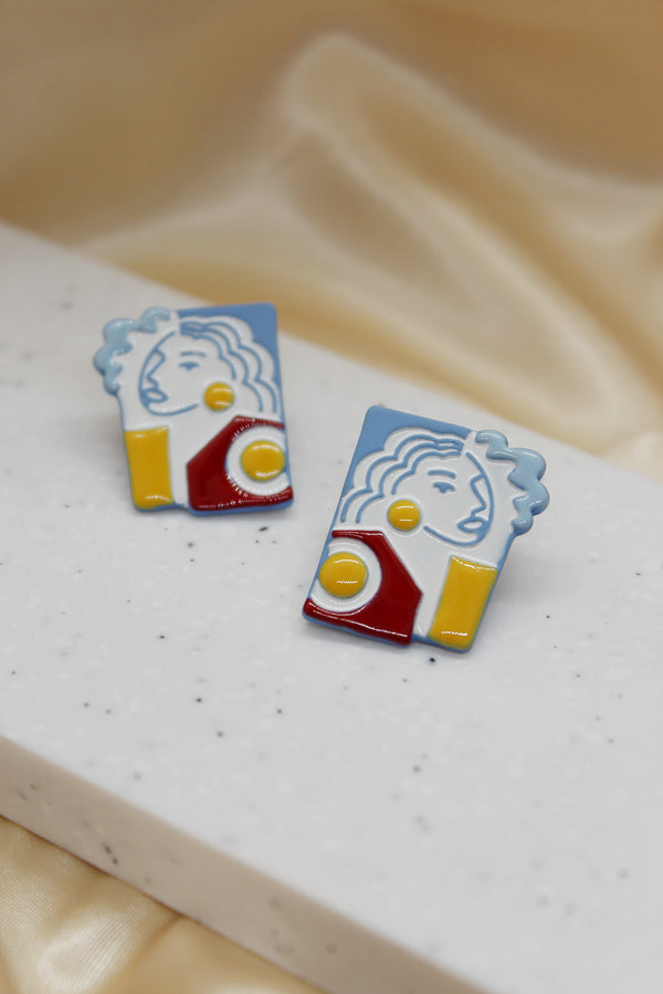 ABSTRACT PORTRAIT STUD EARRINGS