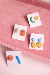 POLYMER CLAY ABSTRACT PEOPLE OUTLINE DROP EARRINGS