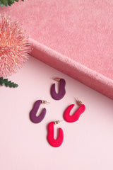 POLYMER CLAY OVAL DISC HOOP EARRINGS