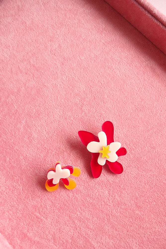 STATEMENT ASYMMETRICAL FLOWER STUD EARRINGS