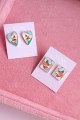ABSTRACT ENAMEL FACE STUD EARRINGS