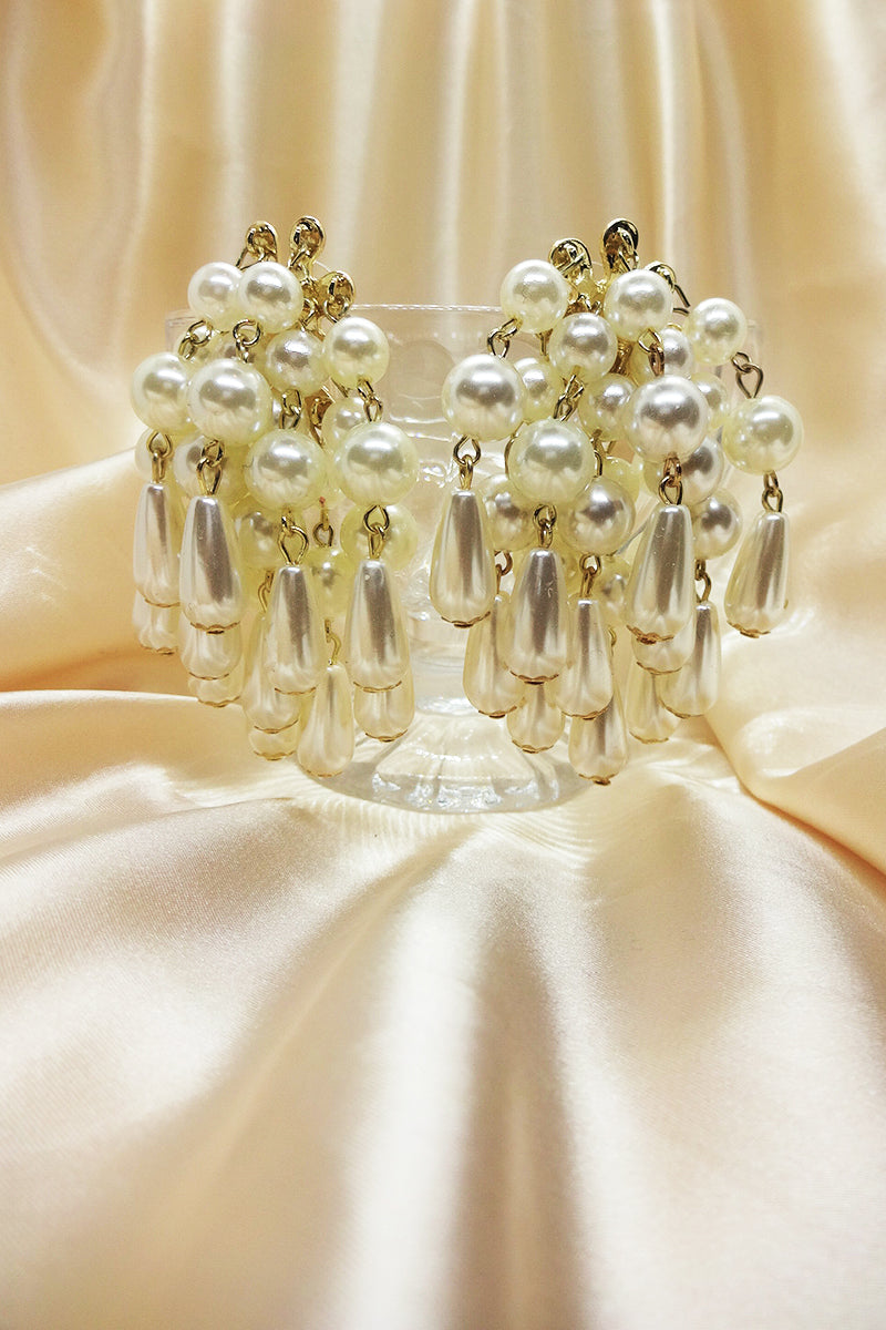 STATEMENT PEARL FRINGE DROP EARRINGS