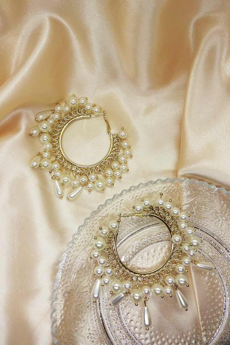PEARL FRINGE HOOP EARRINGS