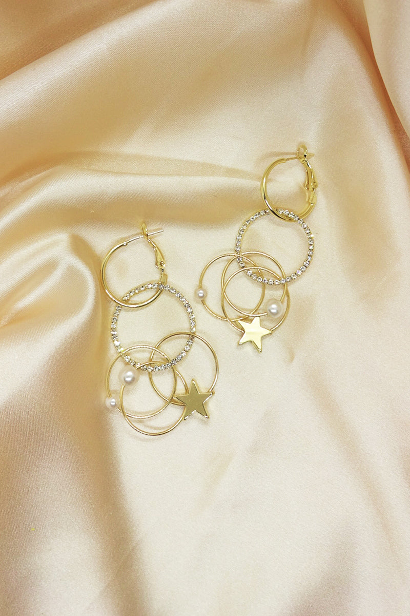 GOLD GEOMETRIC DIAMANTE DROP EARRINGS