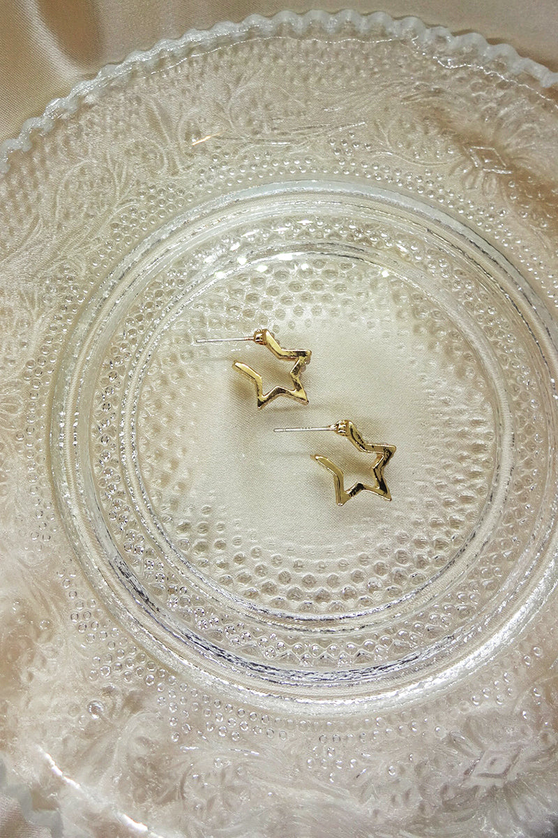 PEARLISED STAR HOOP EARRINGS