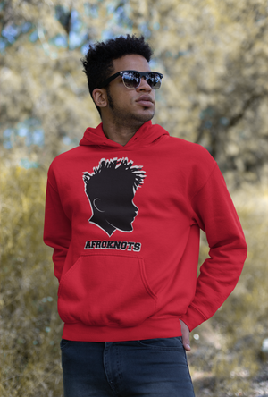AFROKNOTS Custom Black Male Hoodie Collection Front Pouch Pocket Double Lined Athletic Rib Hooded Sweatshirt