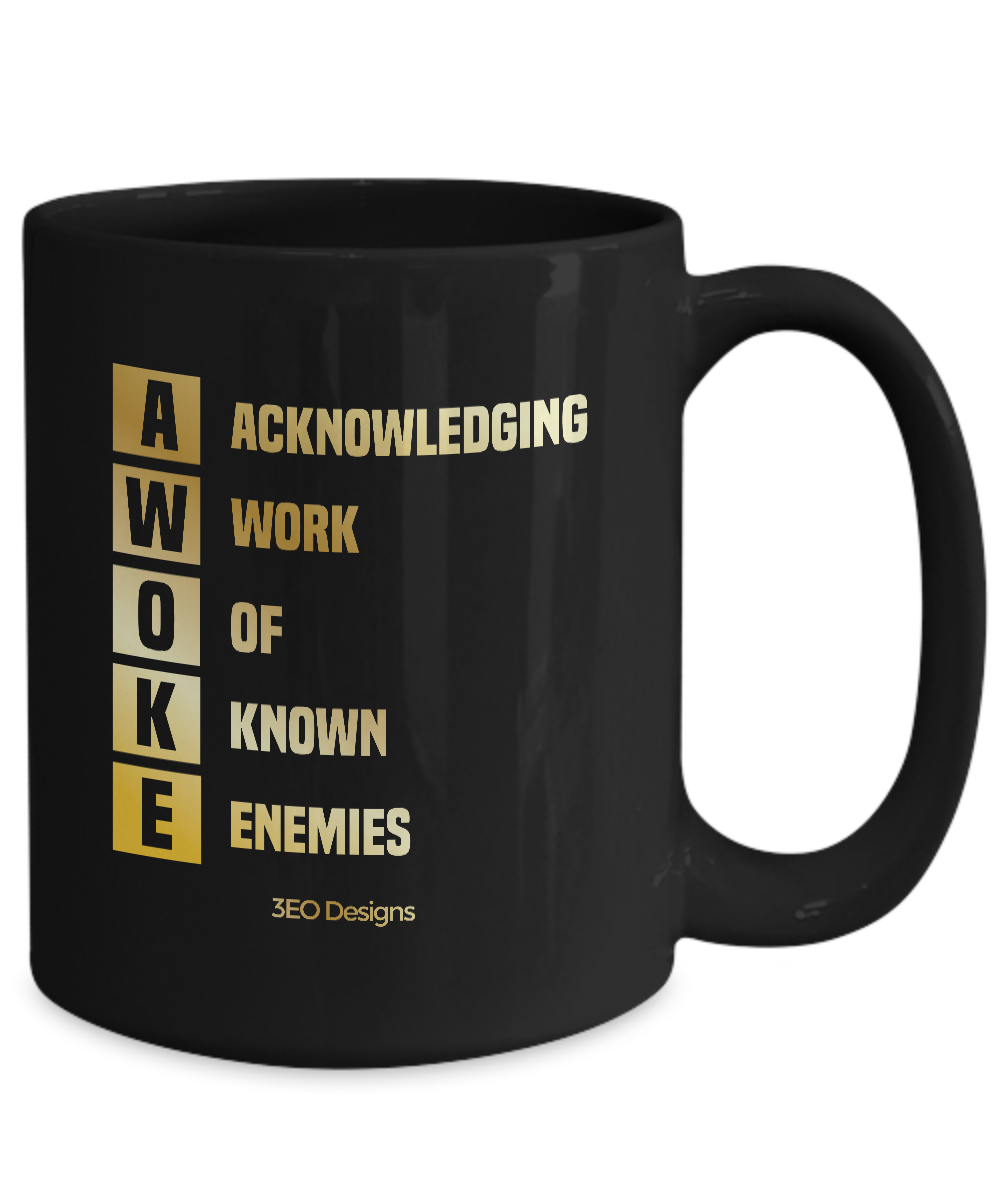 AWOKE ~ 15oz Black & Gold Mug