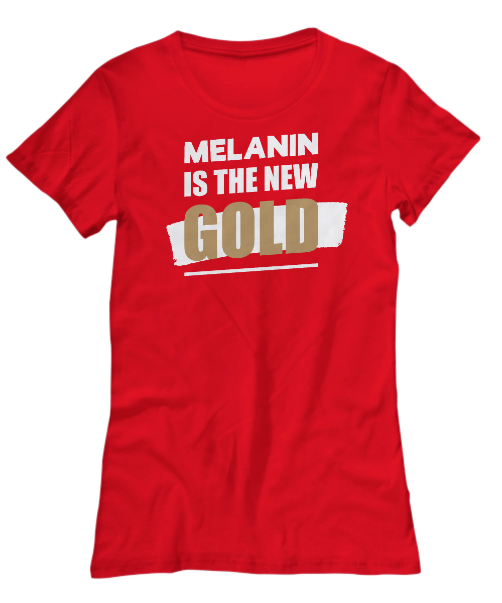 MELANIN NEW GOLD ~ Womens Banner Tee Shirt