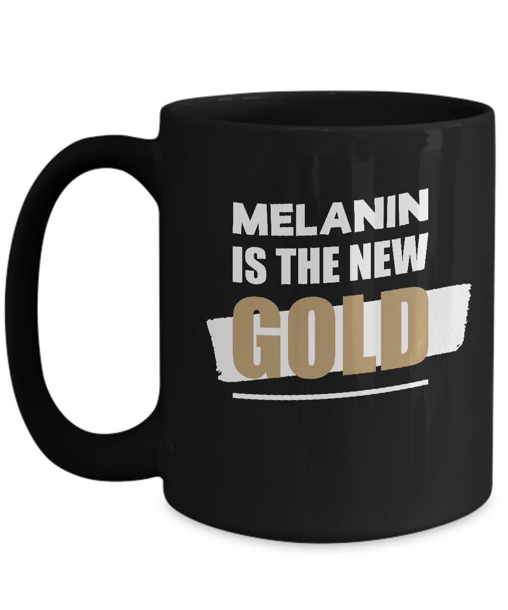 MELANIN NEW GOLD ~ Banner 15oz Black Mug