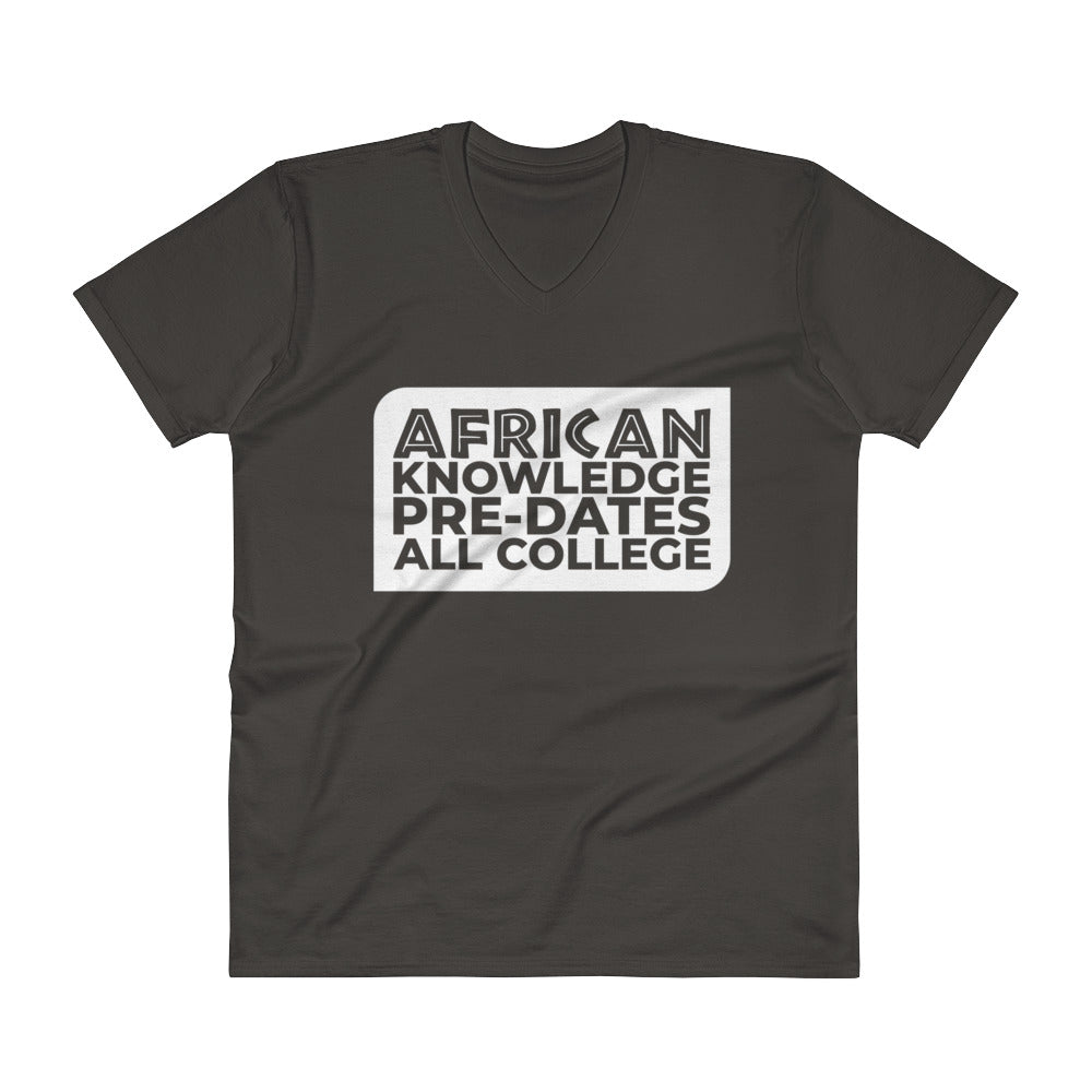 AFRICAN KNOWLEDGE Banner Custom V-Neck Semi-fitted T-Shirt Short Sleeve 100% Cotton