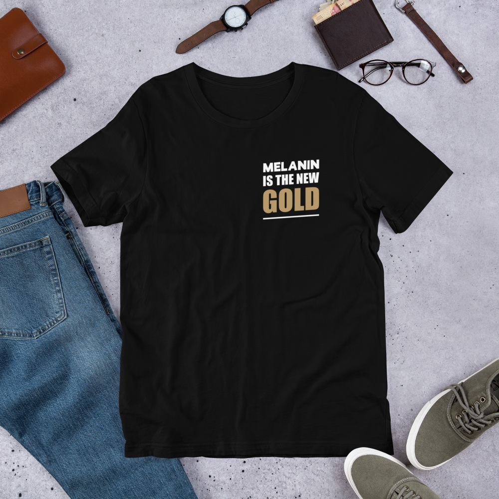MELANIN IS THE NEW GOLD (Breast) Short-Sleeve Unisex Cotton T-Shirt