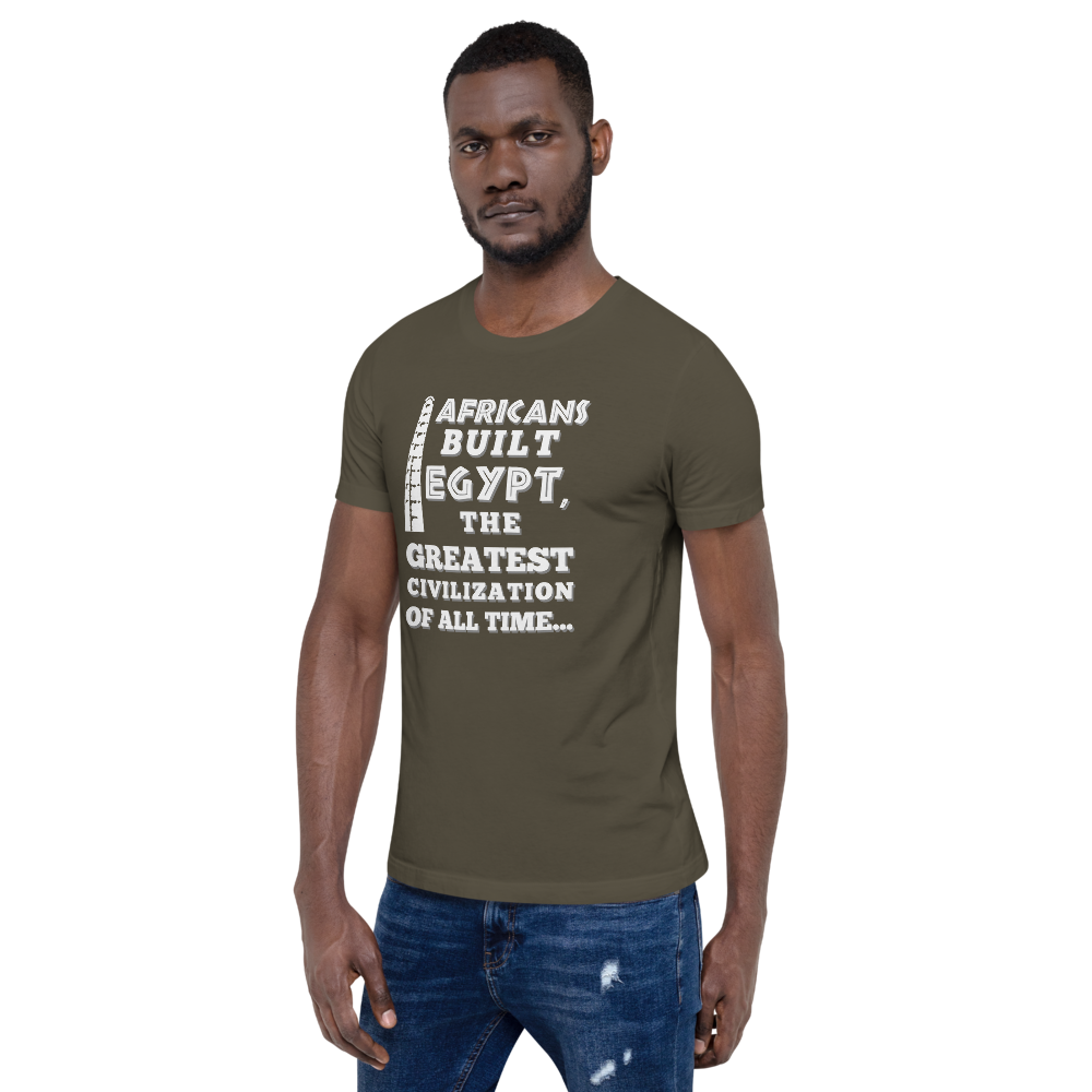 AFRICANS BUILT 1 (Front & Back Graphics) Custom T-shirt Short-Sleeve Sizes XS-4XL Unisex