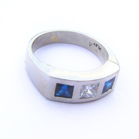 Platinum Men's Sapphire and Diamond Ring