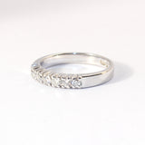 14kt White Band with 7 Prong Set Diamonds
