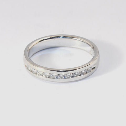 Platinum Band with 10 Round Channel Set Diamonds