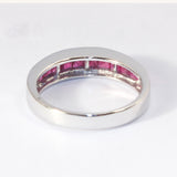 14kt Channel Set Ruby Band with Diamond Center