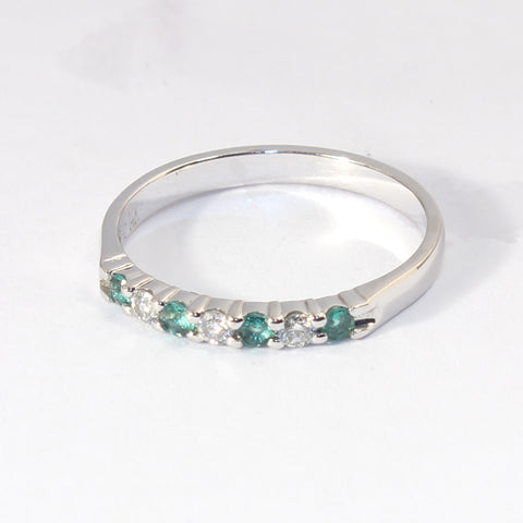 14kt Prong Set  Emerald and Diamond Band