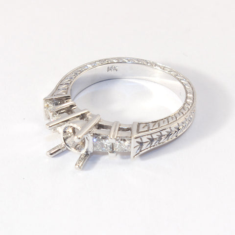 14kt White Gold Engraved Semi Mount with 4 Princess cut side Diamonds