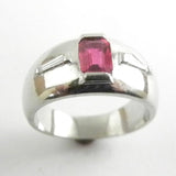Platinum Band with Emerald Cut Ruby and Diamonds